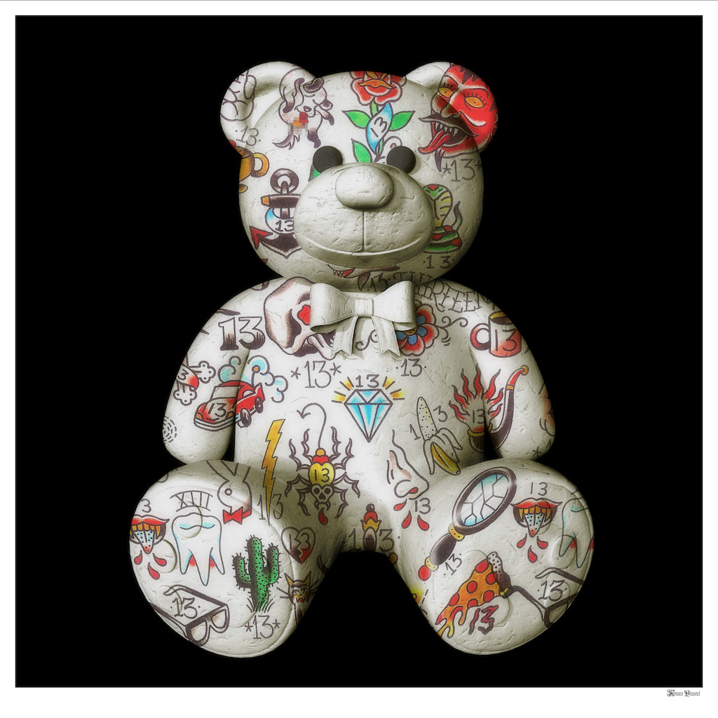 Best Friend - Teddy Bear (Black Background) - Large by Monica Vincent