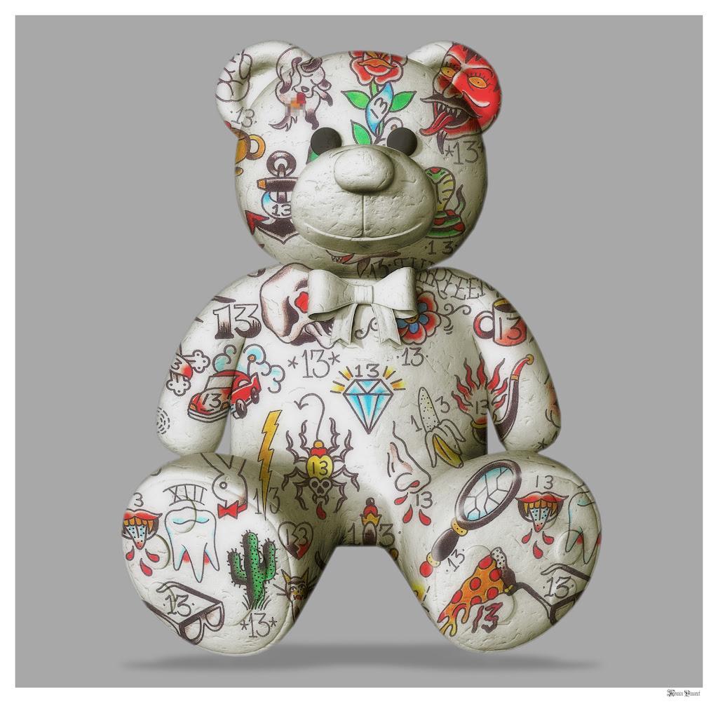 Best Friend - Teddy Bear (Grey Background) - Large - Framed by Monica Vincent