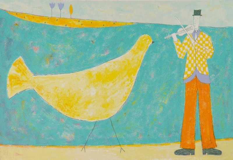Bird & Violin by Annora Spence
