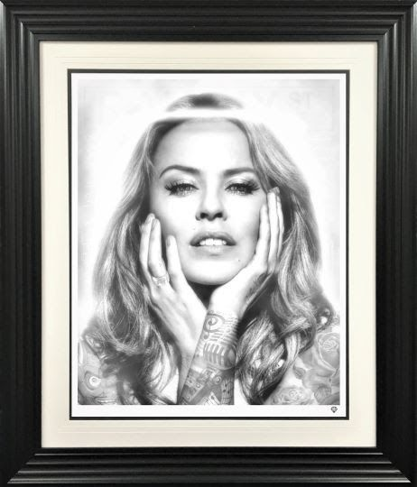 Black And White Kylie Minogue - Artist Proof - Framed by JJ Adams