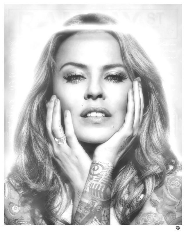 Black And White Kylie Minogue by JJ Adams