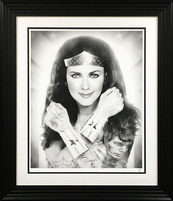 Black And White Wonder Woman - Artist Proof Framed by JJ Adams