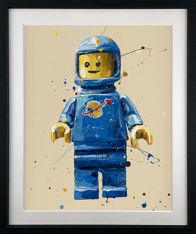 Blue Lego Spaceman - Artist Proof Black - Framed by Paul Oz