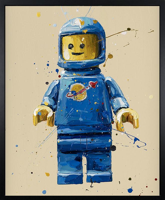 Blue Lego Spaceman - Canvas - Artist Proof Black Framed Box Canvas by Paul Oz