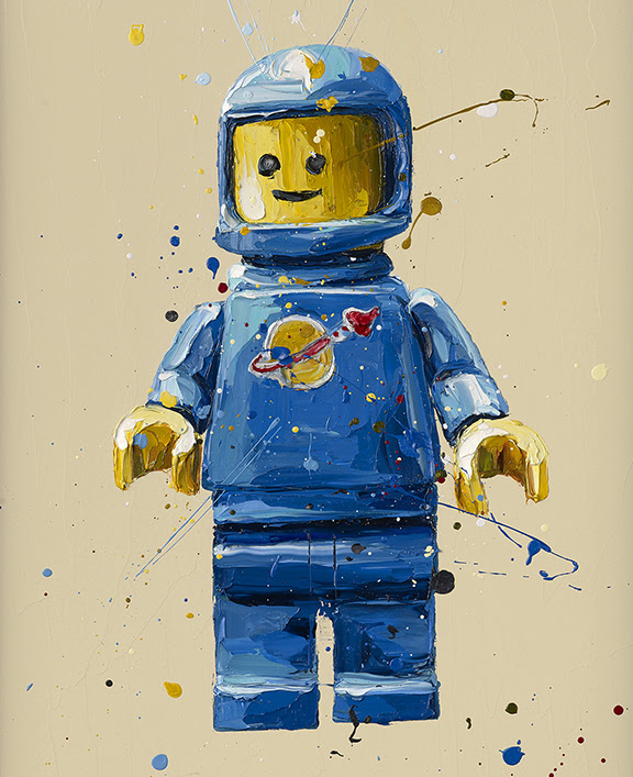 Blue Lego Spaceman - Artist Proof - Mounted by Paul Oz