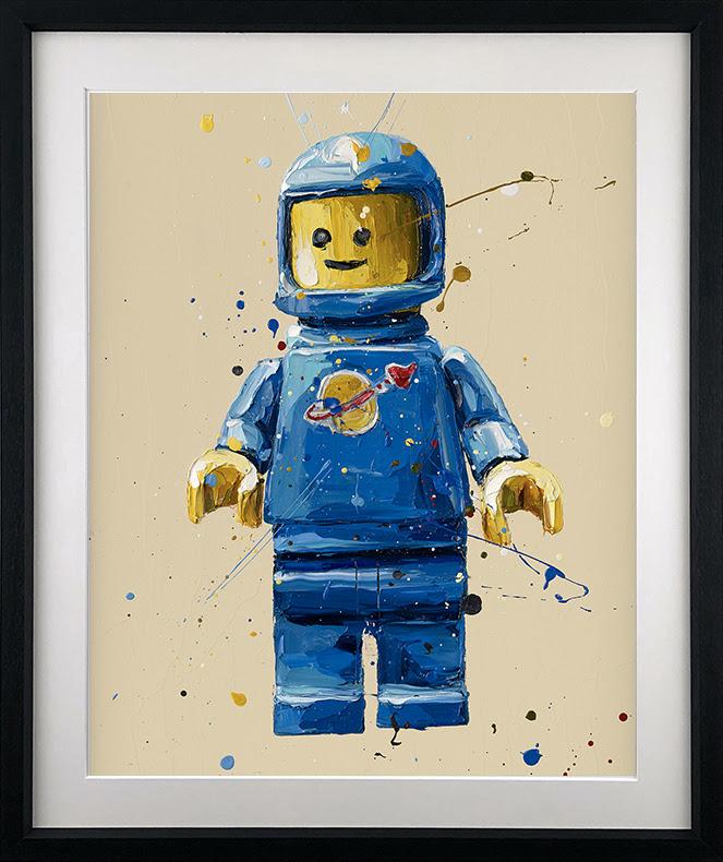 Blue Lego Spaceman - Black - Framed by Paul Oz