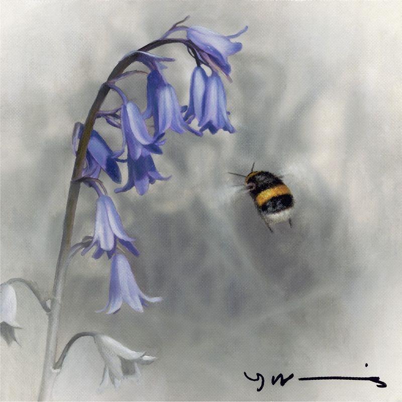 Bluebell - Buff Tail Bee - Original by Nigel Hemming