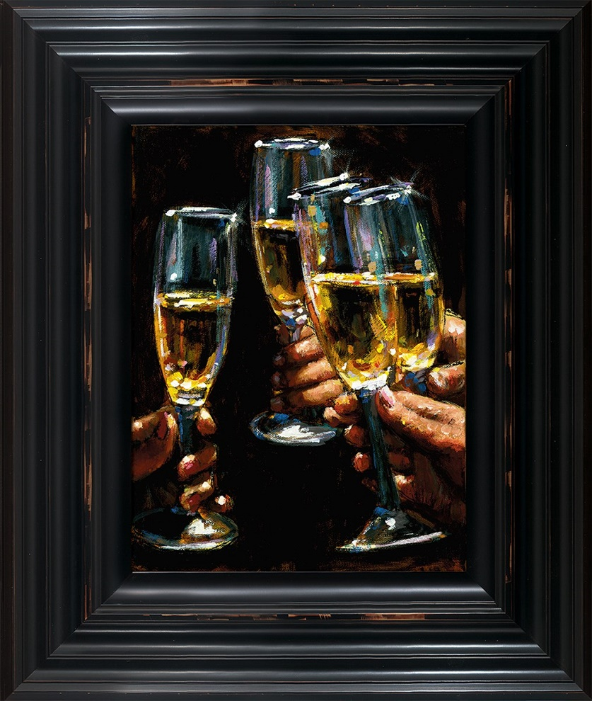 Brindis Con Champagne - Vertical - Framed by Fabian Perez