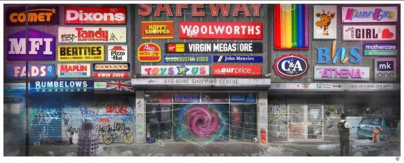 Bye-Gone Shopping Centre - Artist Proof White - Framed by JJ Adams
