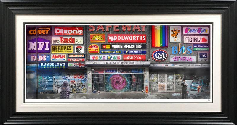 Bye-Gone Shopping Centre - Black - Framed by JJ Adams
