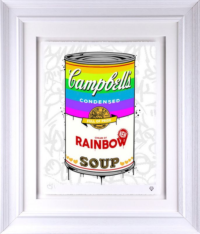 Campbell's Rainbow Soup - White - Framed by JJ Adams