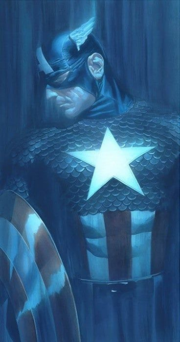 Captain America - Shadows Collection - Printers Proof - Mounted by Alex Ross