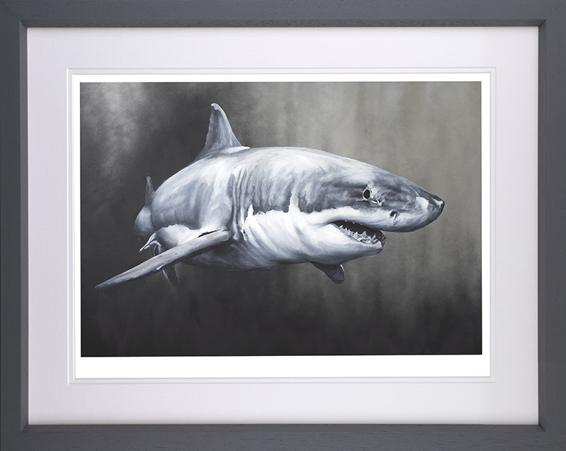 Carcharodon Charcharias - Grey - Framed by Dean Martin *Mad Artist