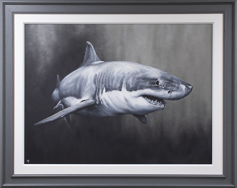 Carcharodon Charcharias - Original - Grey - Framed by Dean Martin *Mad Artist