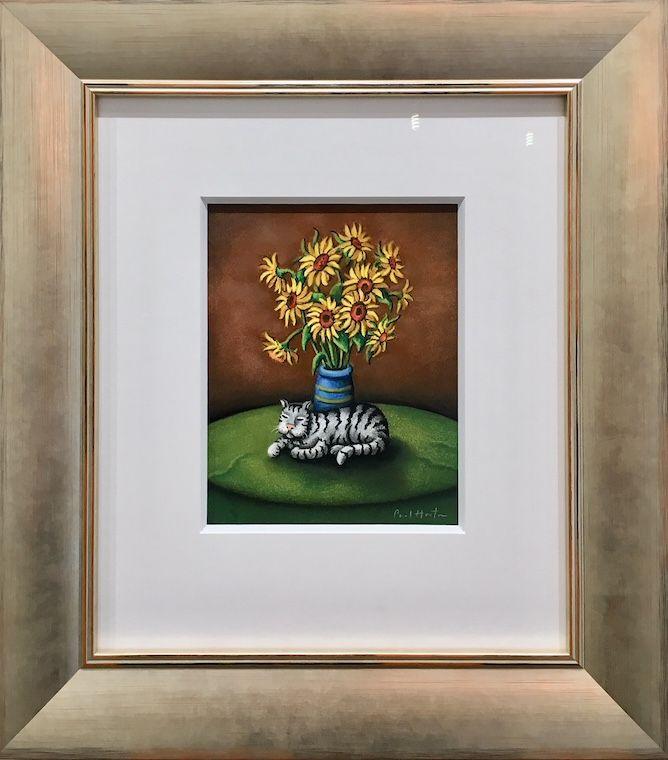 Cat With Sunflowers - Original by Paul Horton