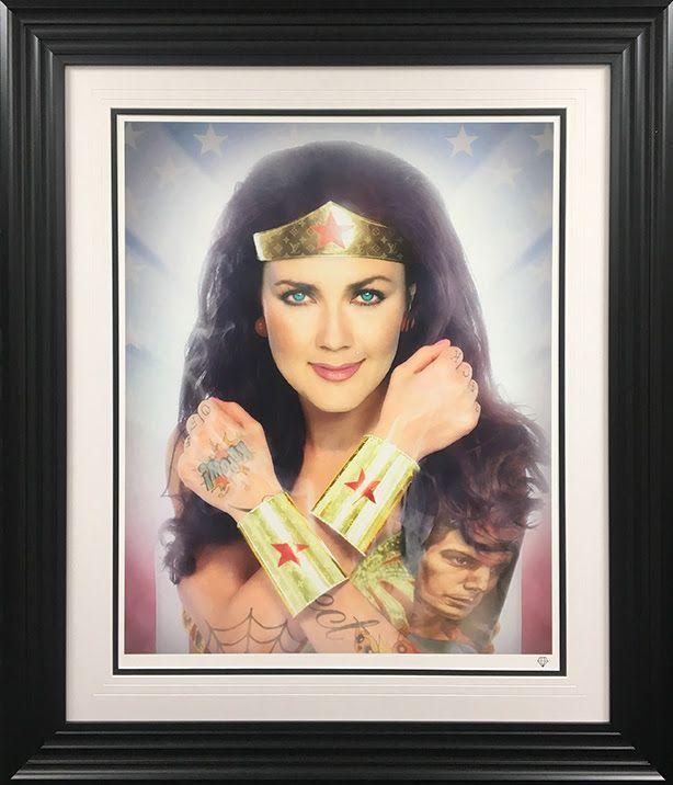 Wonder Woman (Colour) - Black - Framed by JJ Adams