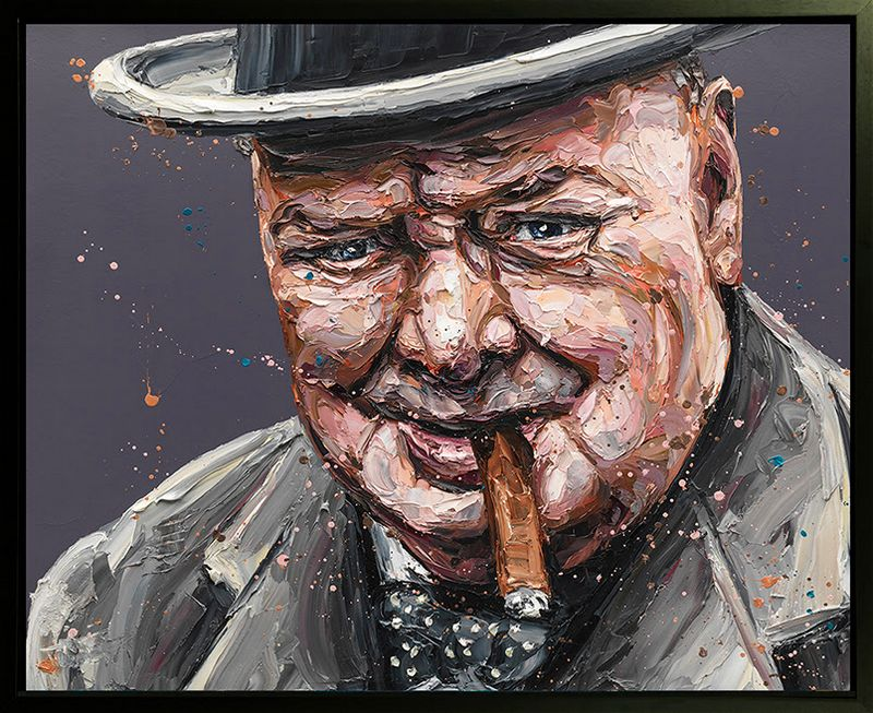 Courage Is A Decision (Churchill) - Canvas - Black Framed Box Canvas by Paul Oz