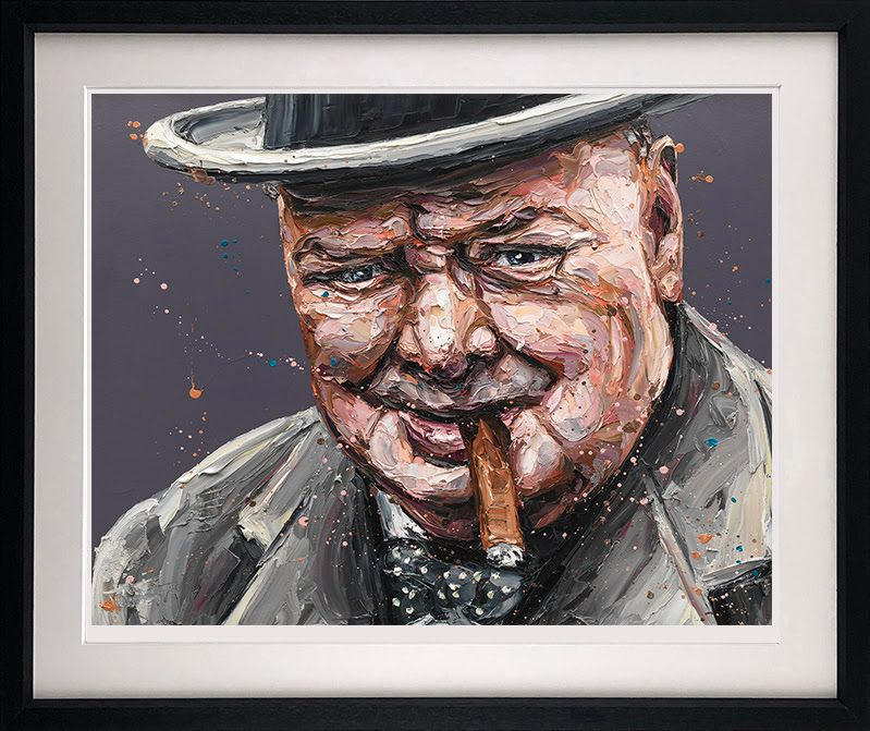 Courage Is A Decision (Churchill) - Black - Framed by Paul Oz