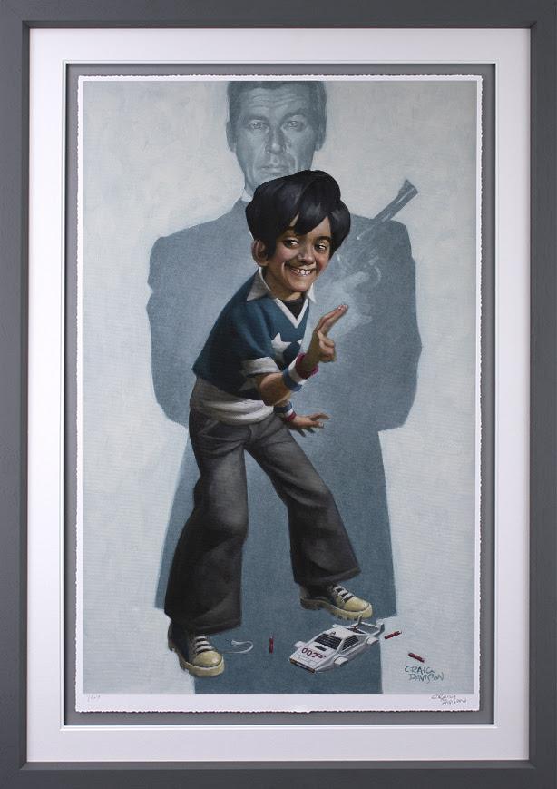 Dan With The Golden Gun - Artist Proof - Grey - Framed by Craig Davison