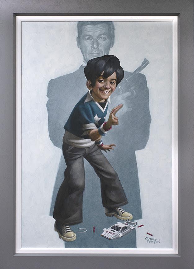 Dan With The Golden Gun - Canvas - Grey - Framed by Craig Davison