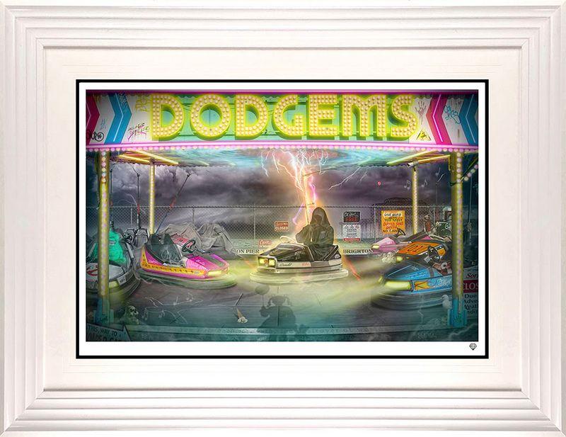 Dodgems - White - Framed by JJ Adams