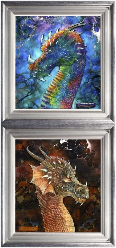Dragons - Set Of 2 - Framed by Kerry Darlington