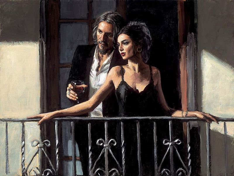 Fabian And Lucy At The Balcony II by Fabian Perez