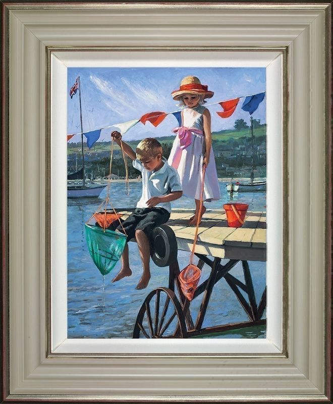 Fishing From The Jetty - Framed by Sherree Valentine Daines