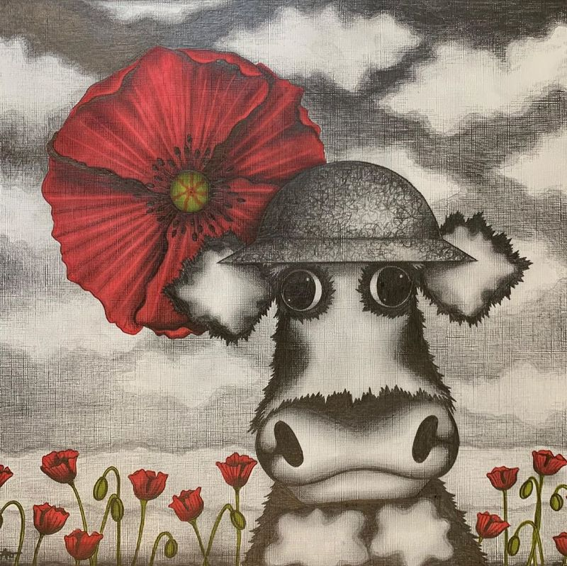 Flanders Fields - Variation Study - Mounted by Caroline Shotton