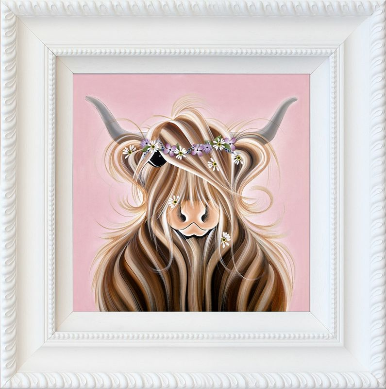 Flora McMoo - White Framed by Jennifer Hogwood