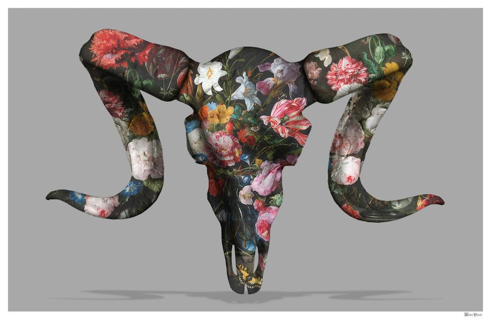Floral Ram Skull (Grey Background) - Small  by Monica Vincent