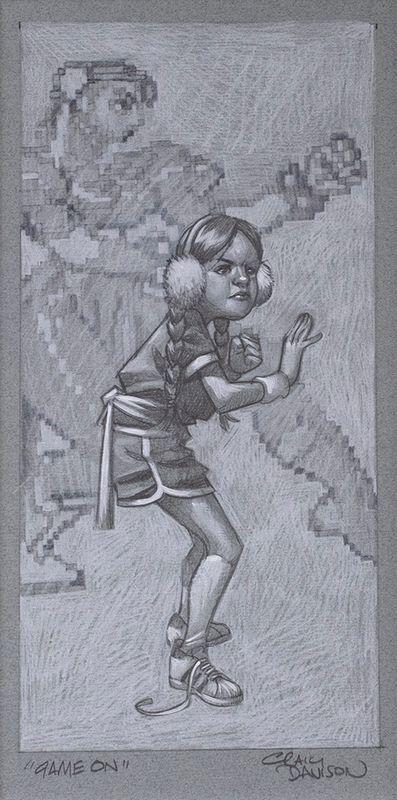 Game On - Sketch - Artist Proof - Mounted by Craig Davison