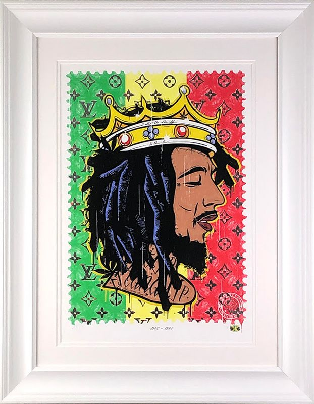 Get Up - Stand Up - Bob Marley - Artist Proof White - Framed by JJ Adams