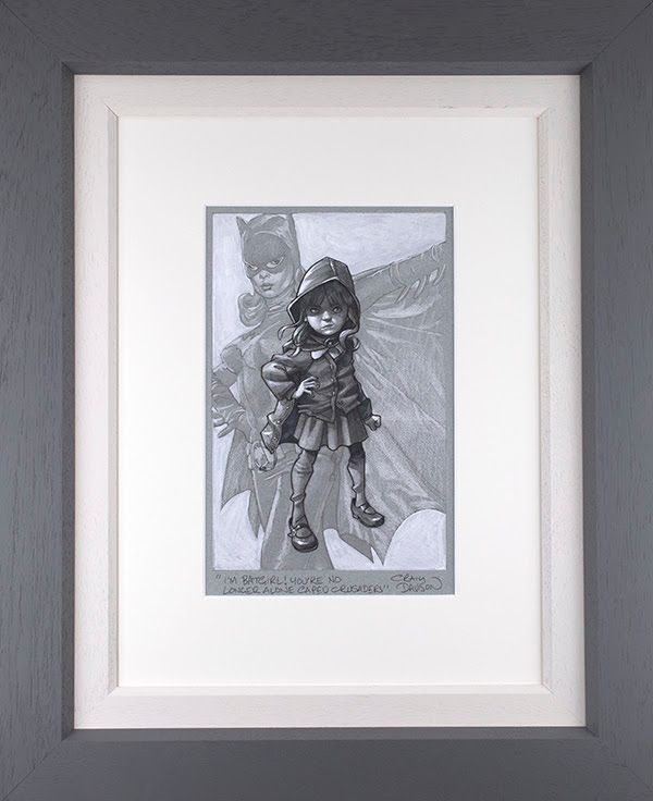 Gotham Girl - Sketch - Original - Grey - Framed by Craig Davison