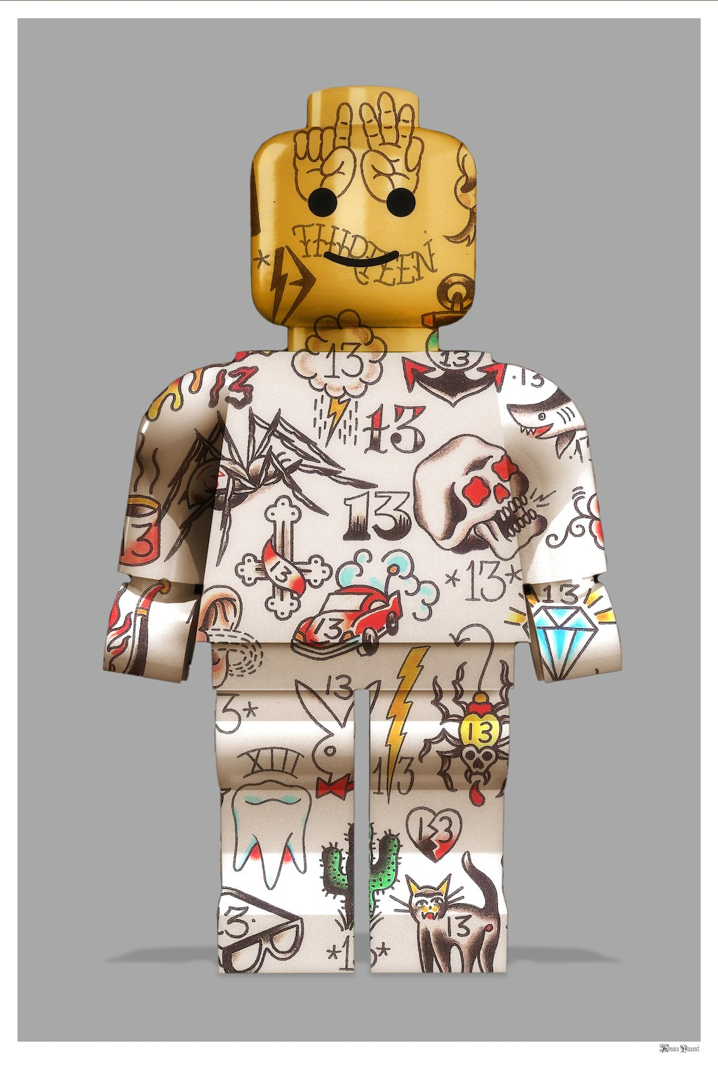 Graffiti Lego Man (Grey Background) - Small by Monica Vincent