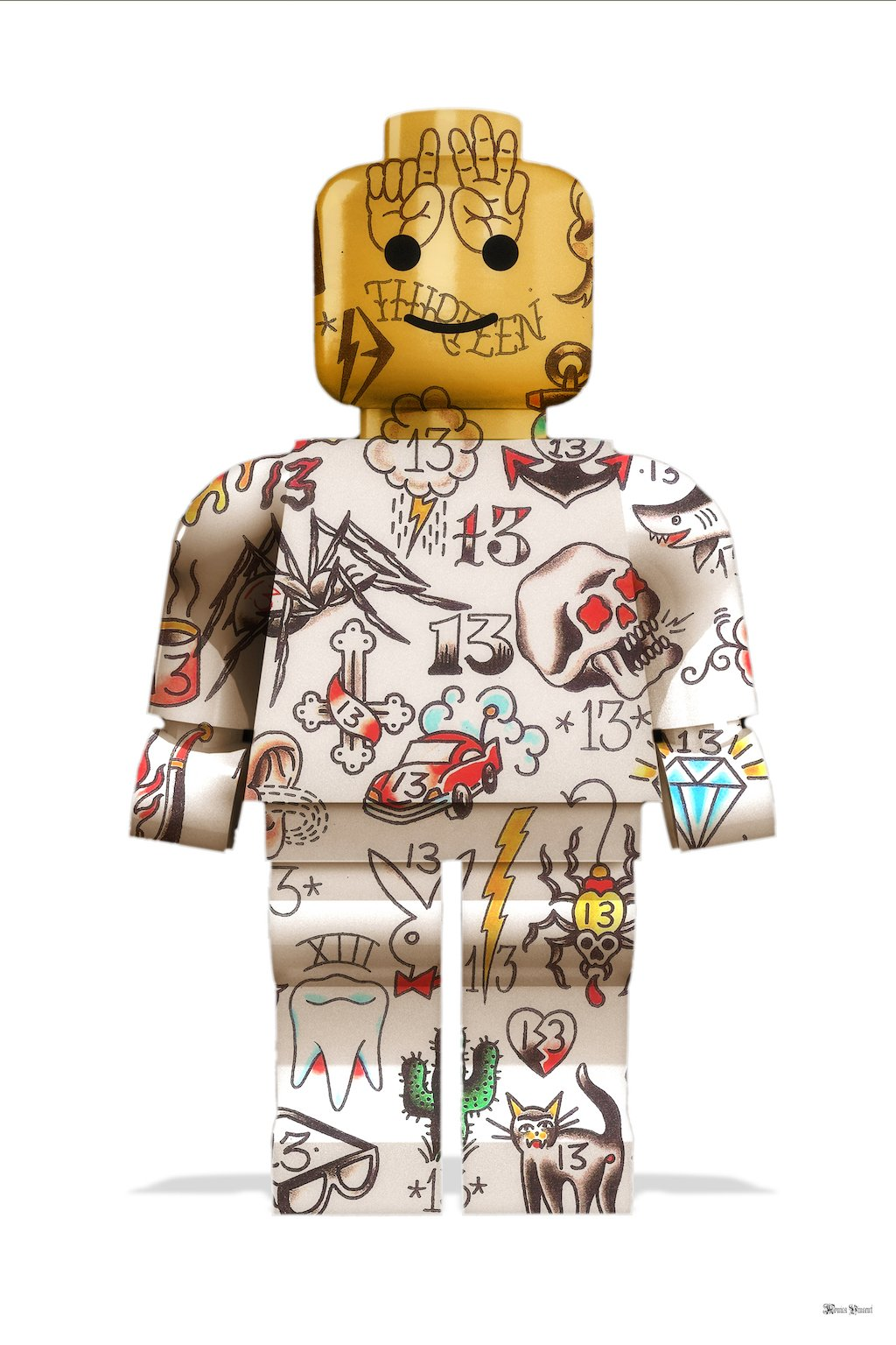 Graffiti Lego Man (White Background) - Small  by Monica Vincent