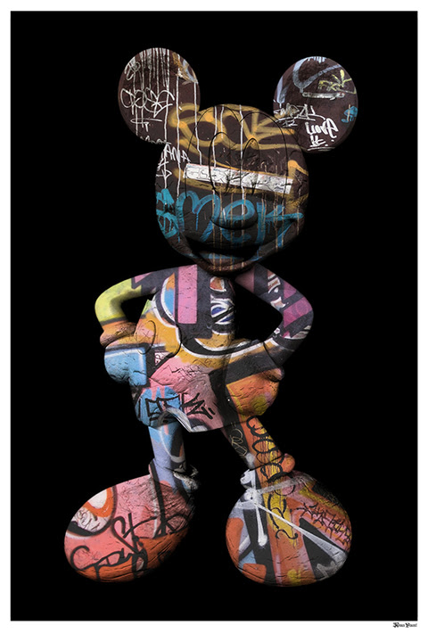 Graffiti Mickey (Black Background) - Large - Framed by Monica Vincent