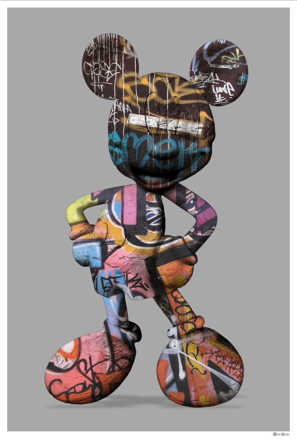 Graffiti Mickey (Grey Background) - Small - Framed by Monica Vincent