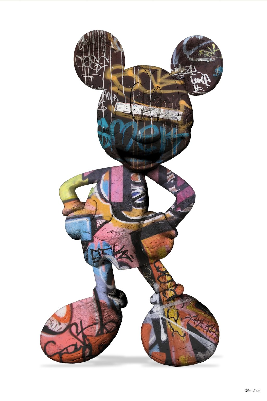 Graffiti Mickey (White Background) - Small - Framed by Monica Vincent