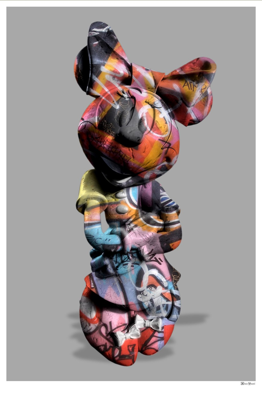 Graffiti Minnie (Grey Background) - Large - Framed by Monica Vincent