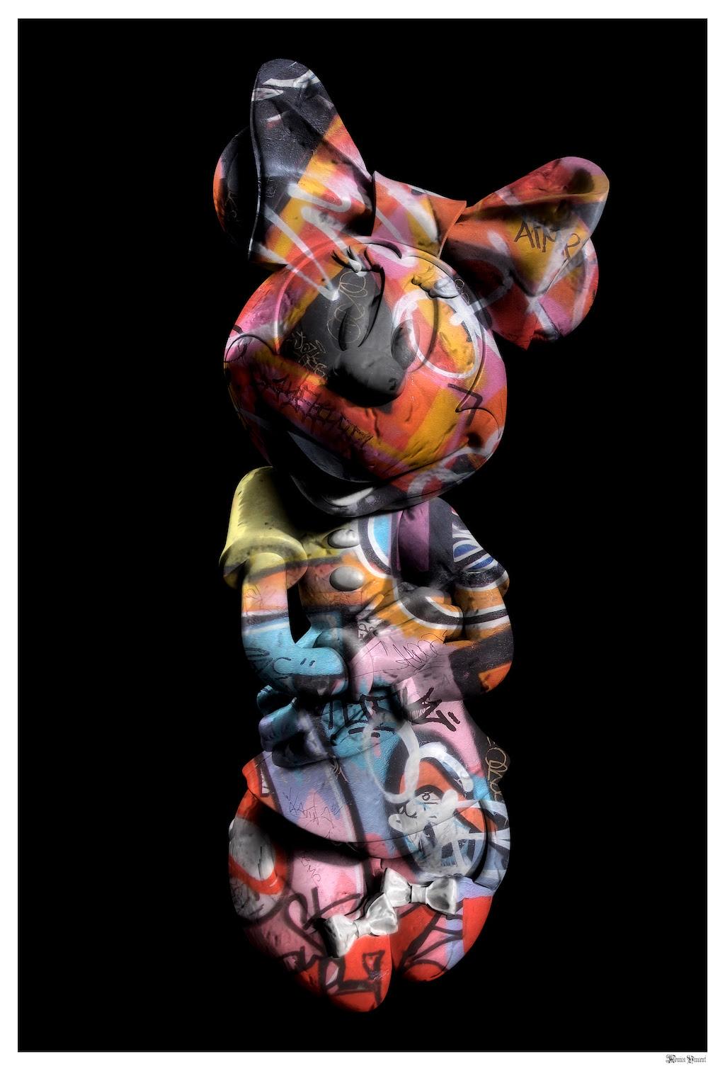 Graffiti Minnie (Black Background) - Large  by Monica Vincent