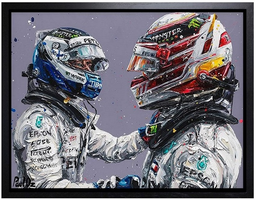 Hamilton & Bottas 18 (Lewis Hamilton & Valtteri Bottas) - Canvas - Framed by Paul Oz