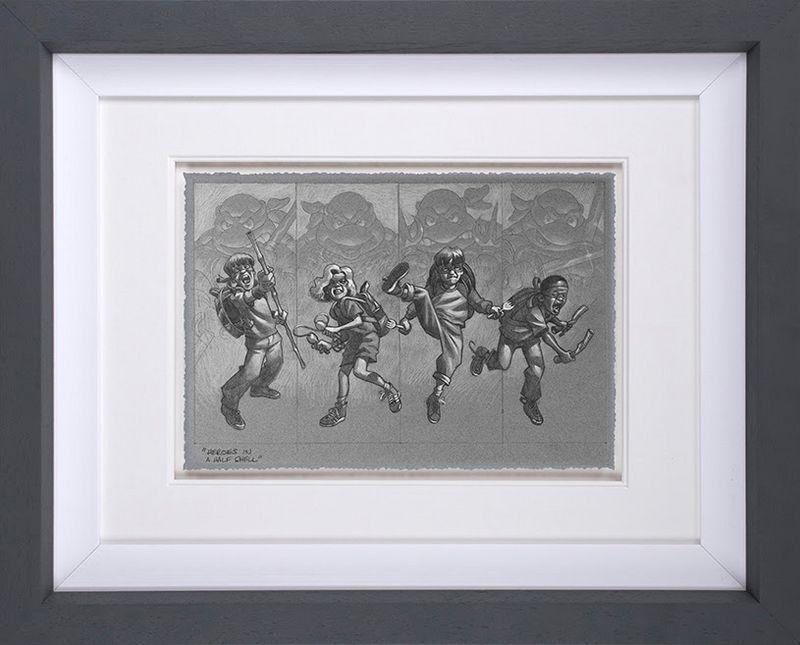 Heroes In A Half Shell - Sketch - Grey - Framed by Craig Davison