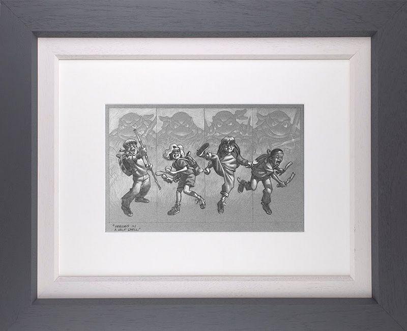 Heroes In A Half Shell - Sketch - Original - Grey - Framed by Craig Davison