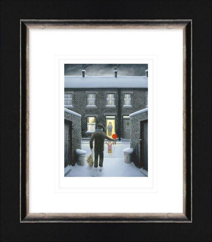 Home For Christmas - Paper - Black - Framed by Leigh Lambert