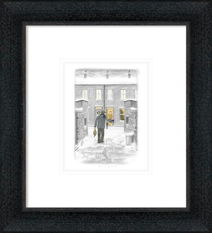 Home For Christmas - Sketch - Black-Grey - Framed by Leigh Lambert
