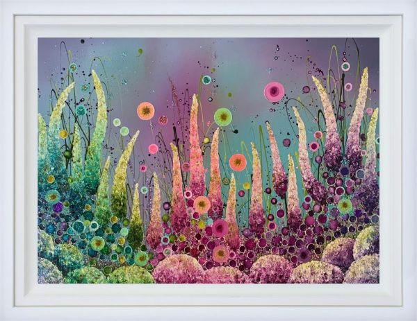 Kaleidoscope Blossom - Original - White Framed by Leanne Christie