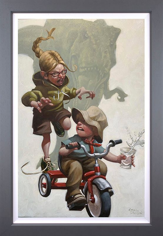 Keep Absolutely Still, Her Vision Is Based On Movement - Original - Grey - Framed by Craig Davison