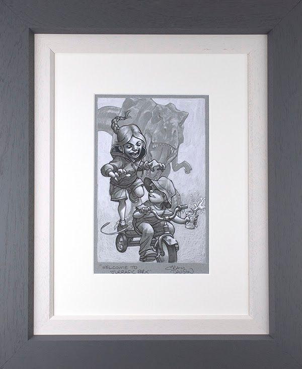Keep Absolutely Still, Her Vision Is Based On Movement - Sketch - Original - Grey - Framed by Craig Davison