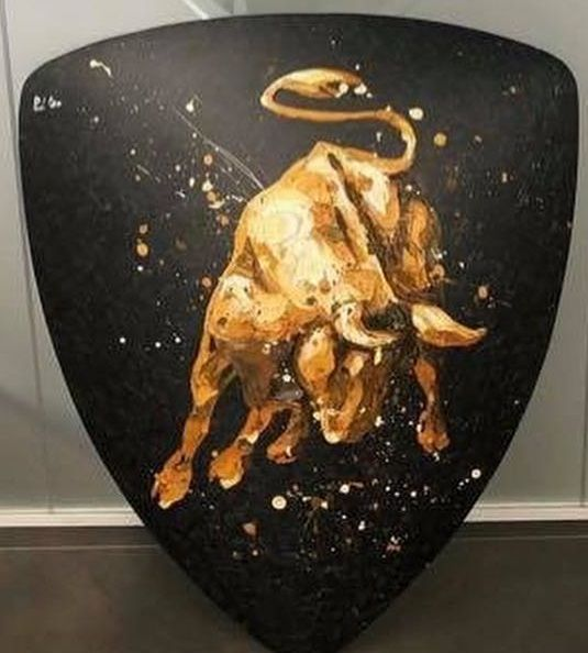 Lamborghini Shield (Neon Gold) - Carbon Fibre - With Wall Fittings by Paul Oz